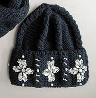 """Черная женская шапка крупной вязки со стразами и бисером """"Эльза"""""""