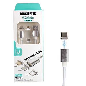 Магнитный провод 3в1 для андроида и айфона Magnetic Cable DM-M12 Micro Usb, Apple Lightning, Type-C 132427