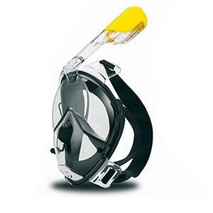 Маска для дайвинга снорклинга Free Easybreath для подводного плавания c креплением для камеры GoPro черная L/XL