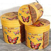 Подарочная коробка круглая 82234-25-31 Бабочки 12*12см
