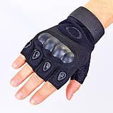Перчатки беспалые с карбоновым кастетом черные, фото 2