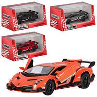 Машинка KT5367W (Lamborghini Veneno) Машинка KT5367W (Lamborghini Veneno) металл, инер,13см,1:36,откр двери,4цвета,в кор-ке,16-7,5-8см