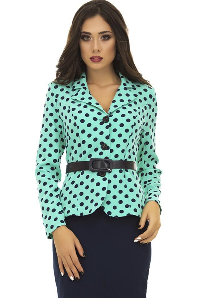 """Деловой костюм женский: пиджак в горошек и юбка """"карандаш"""" с ремнем в комплекте"""