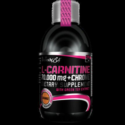 Жироспалювач BioTech USA L-Carnitine 70000 mg + Chrome Liquid 500 ml, фото 2