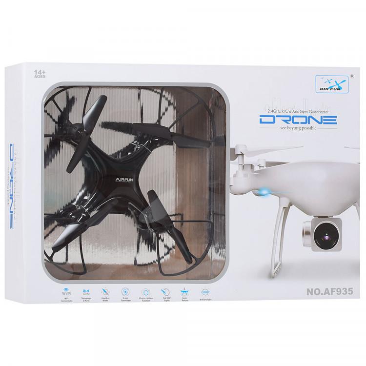 Квадрокоптер AF935W(Black) р/у2.4G,аккум,33см, камера,зап.лопасти,Wi-Fi,USBзаряд,в кор,51-36-8см (Black)