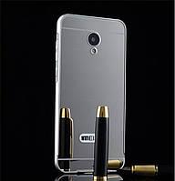 Металлический бампер Epik с акриловой вставкой с зеркальным покрытием для Meizu M3s / M3 mini Silver