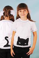 """Детская белая футболка """"Кошка"""""""