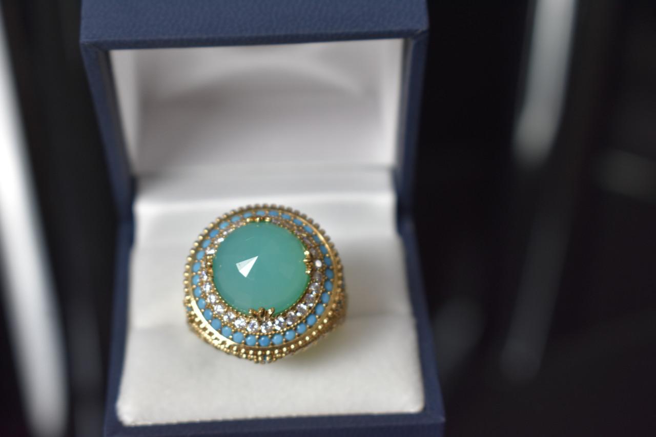 Серебряное кольцо с камнем Алпанит и бирюза