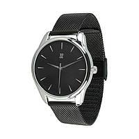 Часы Ziz Белым по черному, ремешок из нержавеющей стали черный и дополнительный ремешок - 142796