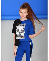Футболка сине-черного цвета для девочки, Marions