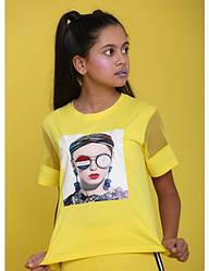 Футболка желтого цвета декорированная аппликацией для девочки, Marions