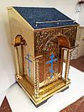 Аналой средний на булате с чеканкой (синий бархат), фото 3