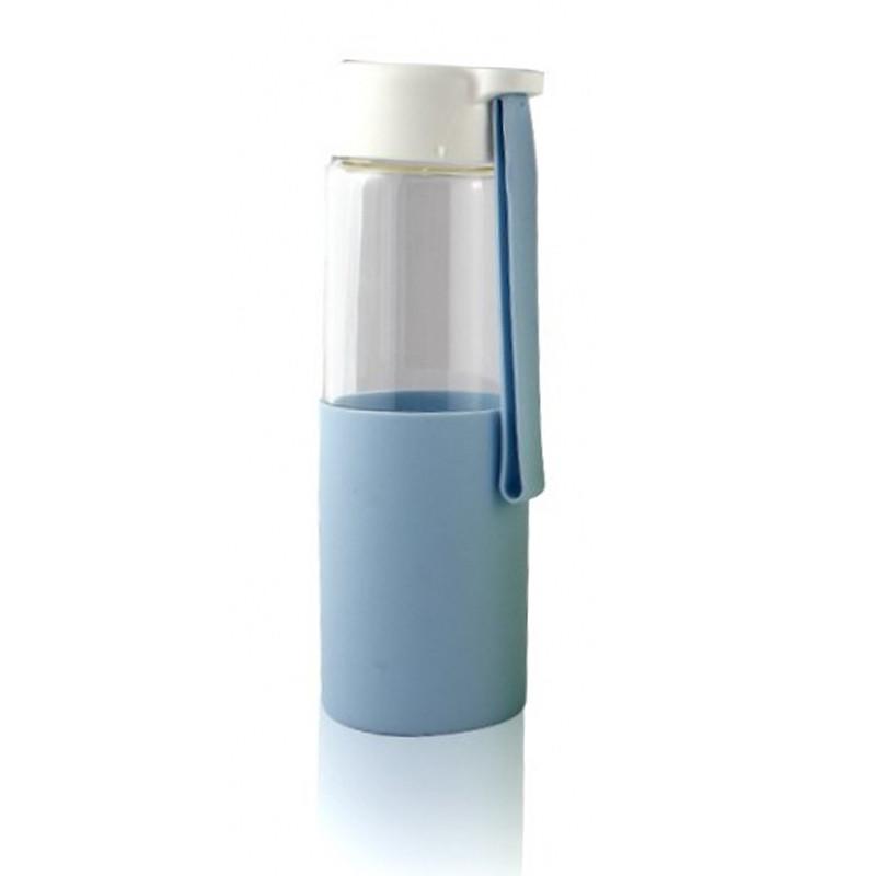 Стеклянная бутылочка для воды с силиконом Muse голубая