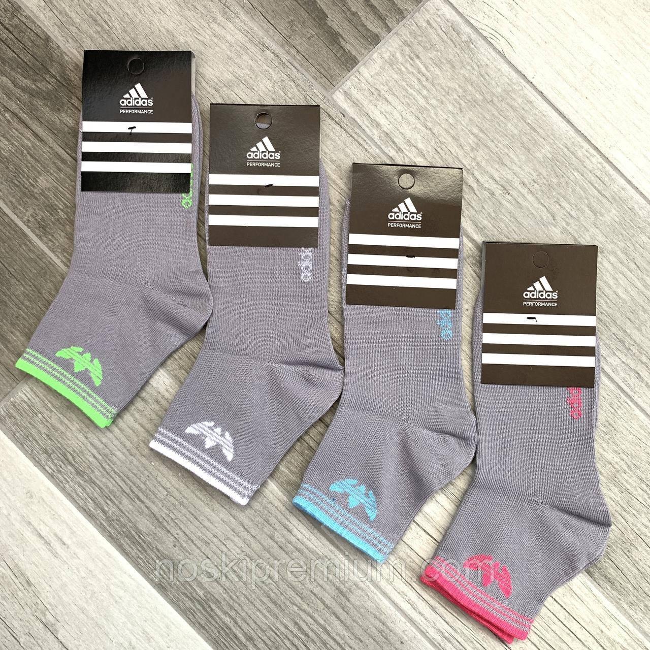 Носки женские спортивные демисезонные х/б Adidas, Турция, серые, средние, 06173