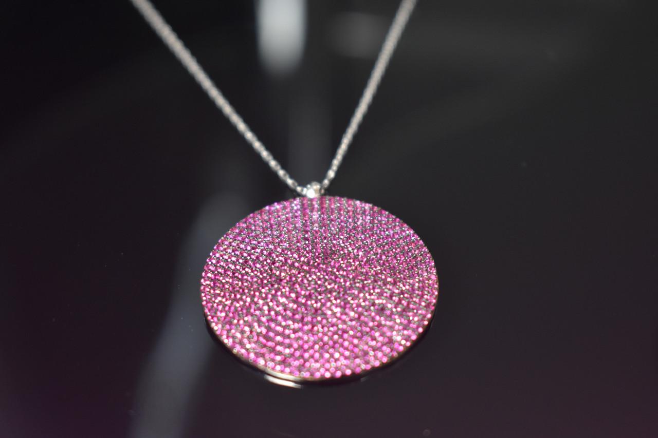 Срібна ланцюжок з кулоном камінь Рожева Шпінель