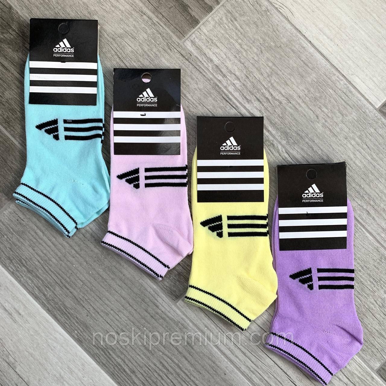 Носки женские спортивные демисезонные х/б Adidas, Турция, цветное ассорти, короткие, 06176