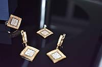 Серебряный комплект со вставками из камней Черный Нефрит и фианиты