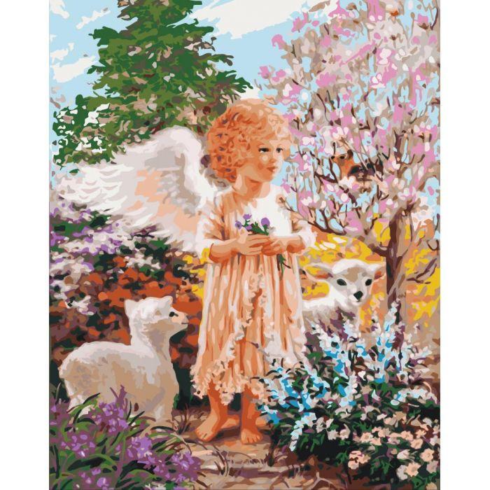 """Картина по номерам. Дети """"Ангел в лесу"""" 40*50см * KHO2305 Картина по номерам. Дети """"Ангел в лесу"""" 40*50см * KHO2305"""