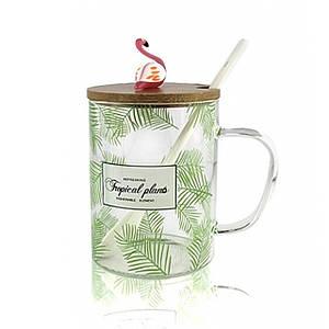 Чашка для чая с деревянной крышкой и ложечкой Flamingo зеленая
