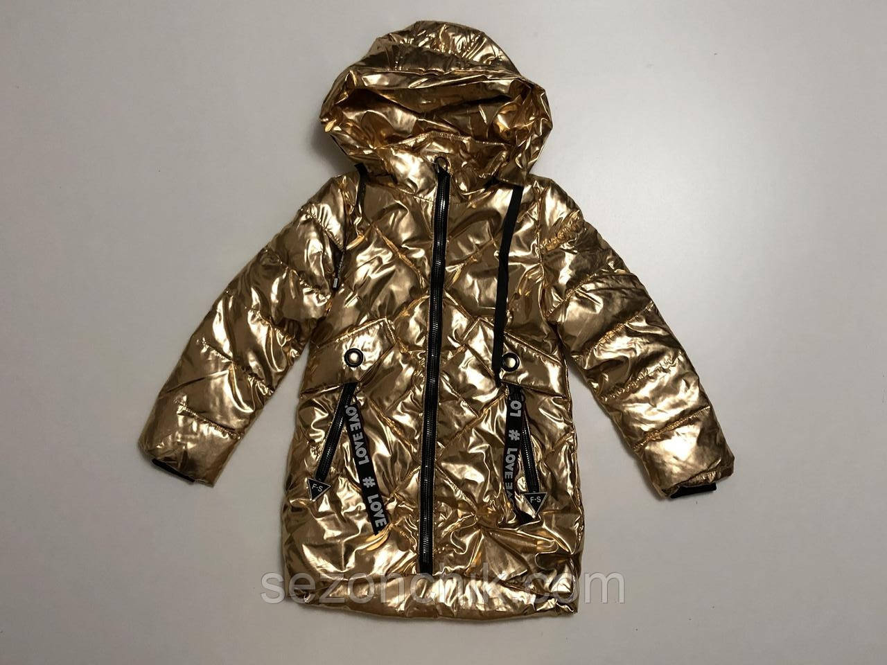 Весенняя блестящая детская куртка на девочек