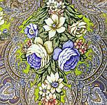 Чародейка Зима 1749-2, павлопосадский платок шерстяной (двуниточная шерсть) с шелковой вязаной бахромой, фото 4