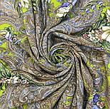 Чародейка Зима 1749-2, павлопосадский платок шерстяной (двуниточная шерсть) с шелковой вязаной бахромой, фото 9