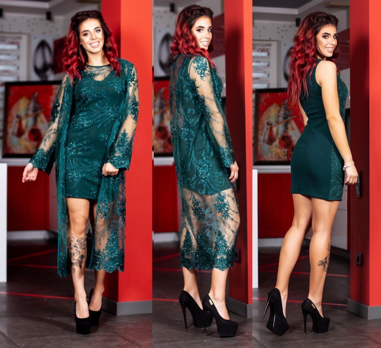 Шикарный праздничный комплект с дорогой вышивкой: облегающее платье и длинная расшитая накидка кардиган