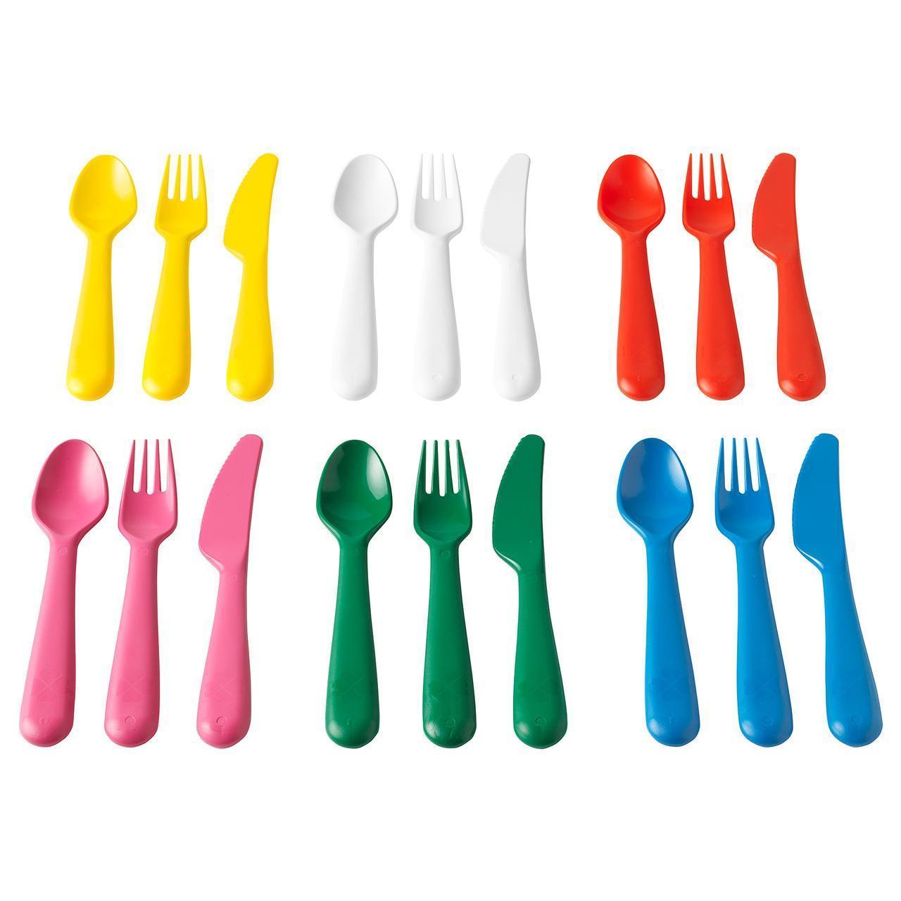 Набор детских столовых приборов IKEA KALAS 18 шт разноцветные 804.213.32