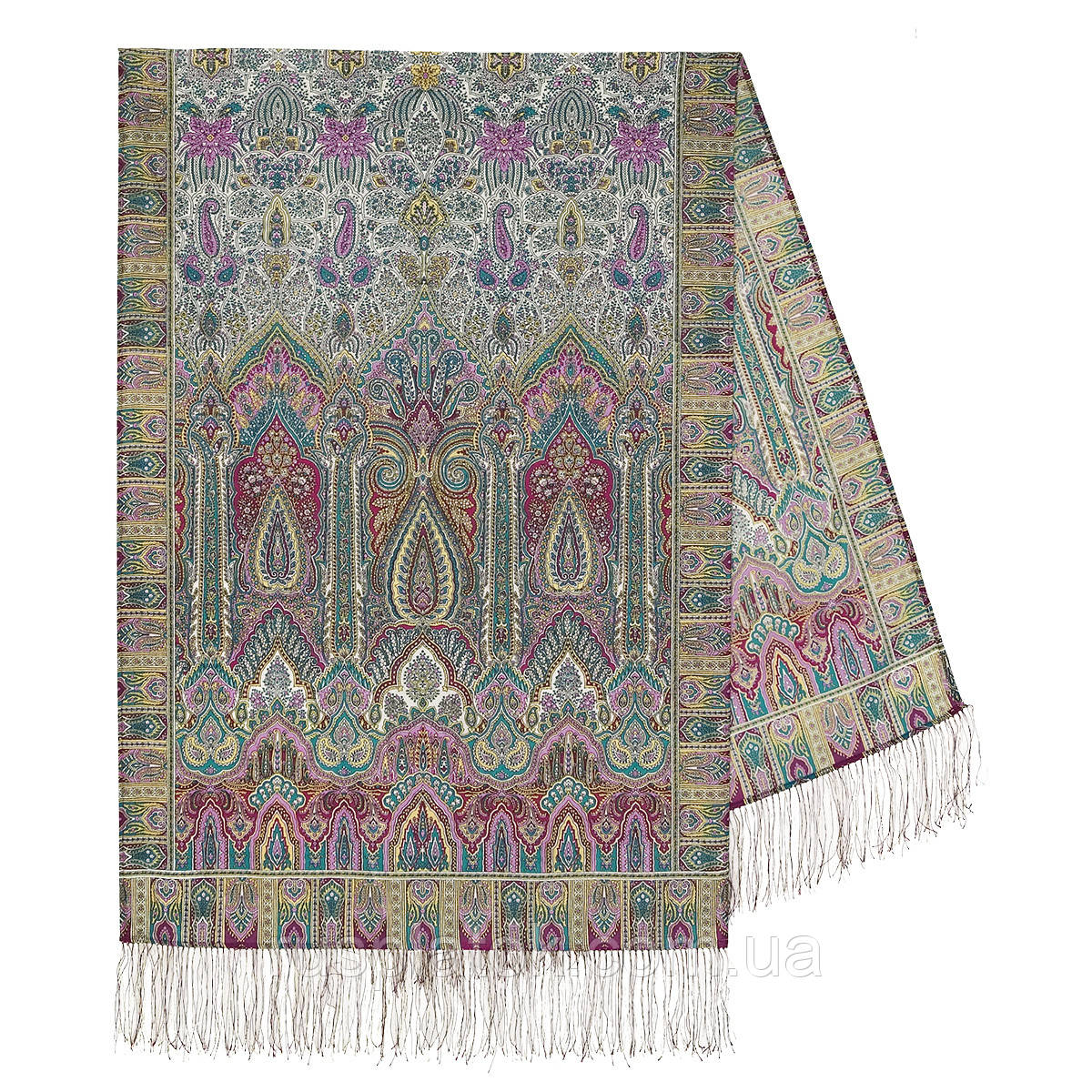 Царский 1159-54, павлопосадский шарф-палантин шерстяной с шелковой бахромой