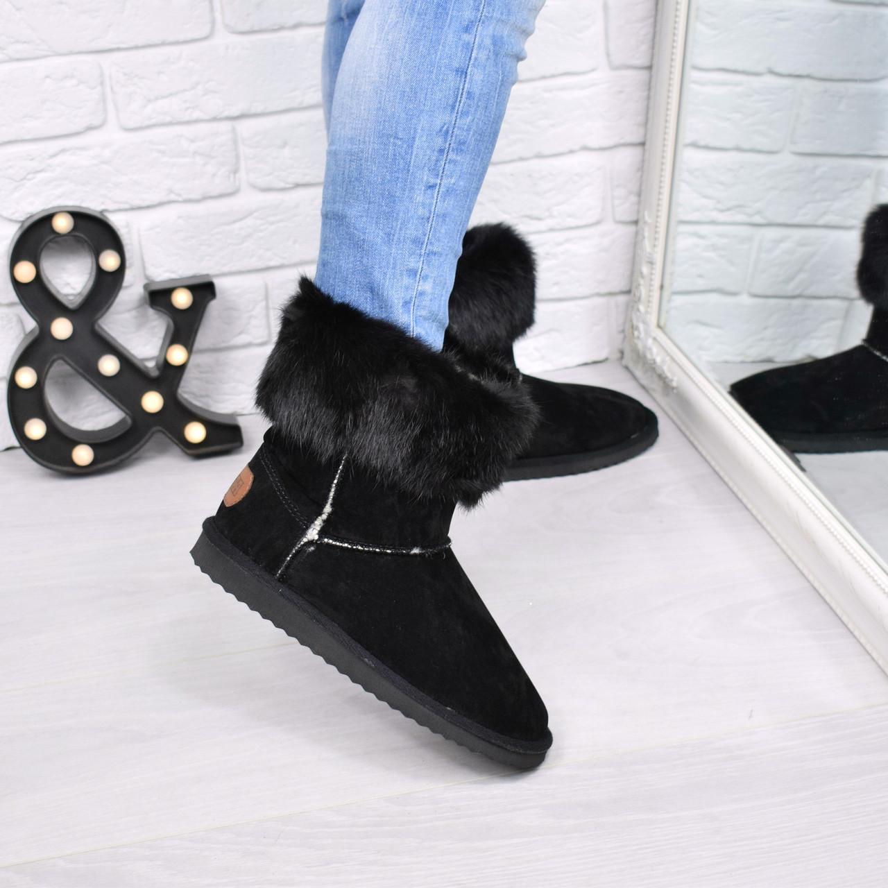 503927209 Угги женские Кролик черные с черным 3795, зимняя обувь: продажа ...