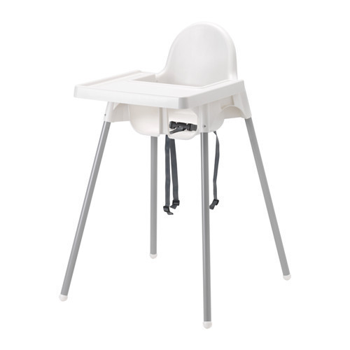 Детский стульчик высокий с поддончиком ANTILOP, серебро, IKEA, 290.672.93