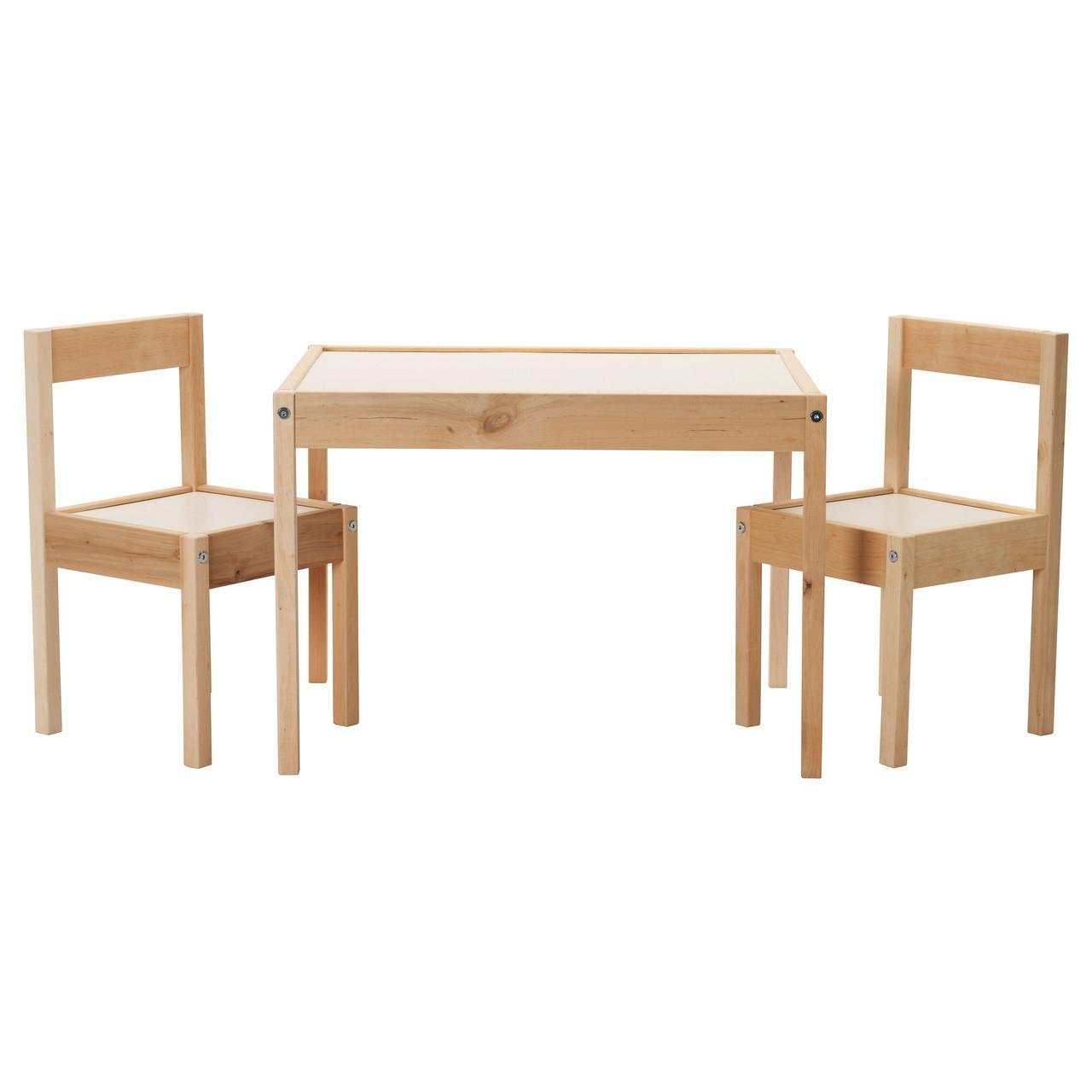 Столик детский LÄTT и 2 стула, белый, сосна, IKEA, 501.784.11