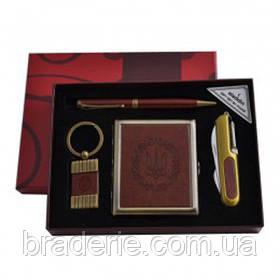 Подарунковий набір YJ-6420 4в1 Портсигар Ручка Брелок Ніж