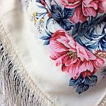 Утренний сад 363-3, павлопосадский платок шерстяной (двуниточная шерсть) с шелковой бахромой, фото 5