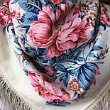 Утренний сад 363-3, павлопосадский платок шерстяной (двуниточная шерсть) с шелковой бахромой, фото 6