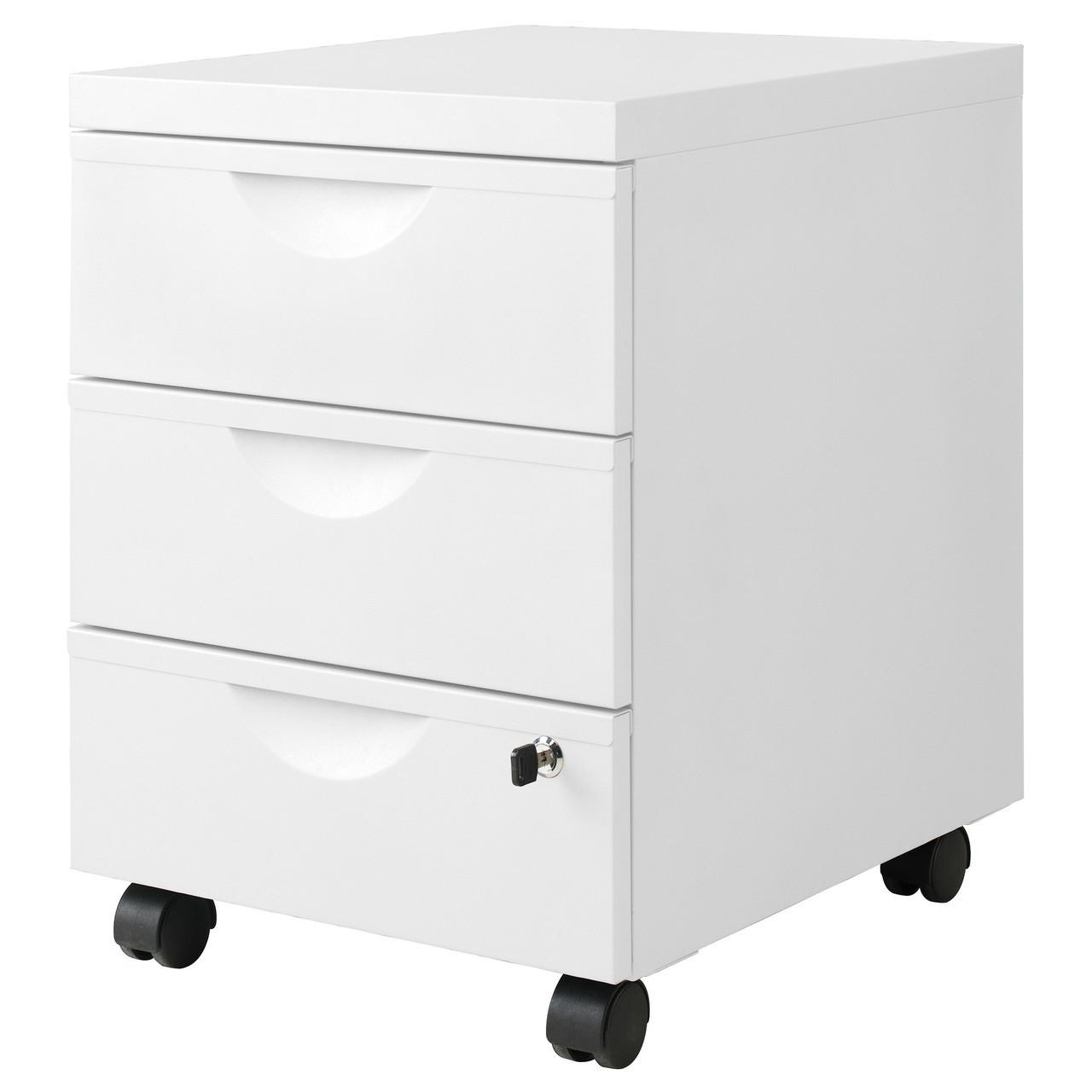 Тумба на колесиках ERIK с 3 ящиками, белая, IKEA, 101.518.09