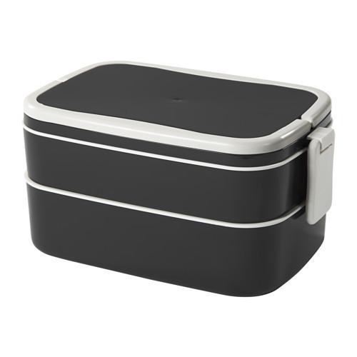 Контейнер для завтрака IKEA FLOTTIG, черный, белый, 22x13x12 см 202.948.60