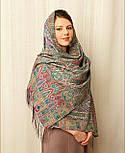 Царский 1159-54, павлопосадский шарф-палантин шерстяной с шелковой бахромой, фото 6