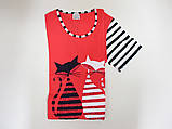 Домашнее платье- туника  с котиками Nicoletta 83425, фото 8