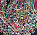 Восточные сладости 1429-18, павлопосадский платок (шаль, крепдешин) шелковый с шелковой бахромой, фото 5