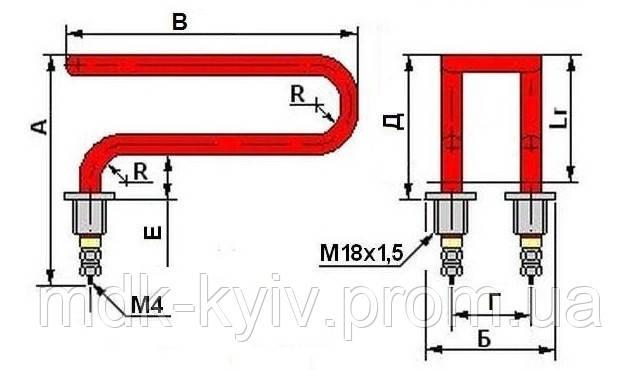 Дистиллятор 2,5 кВт  М18х1,5 гнутый-гнутый