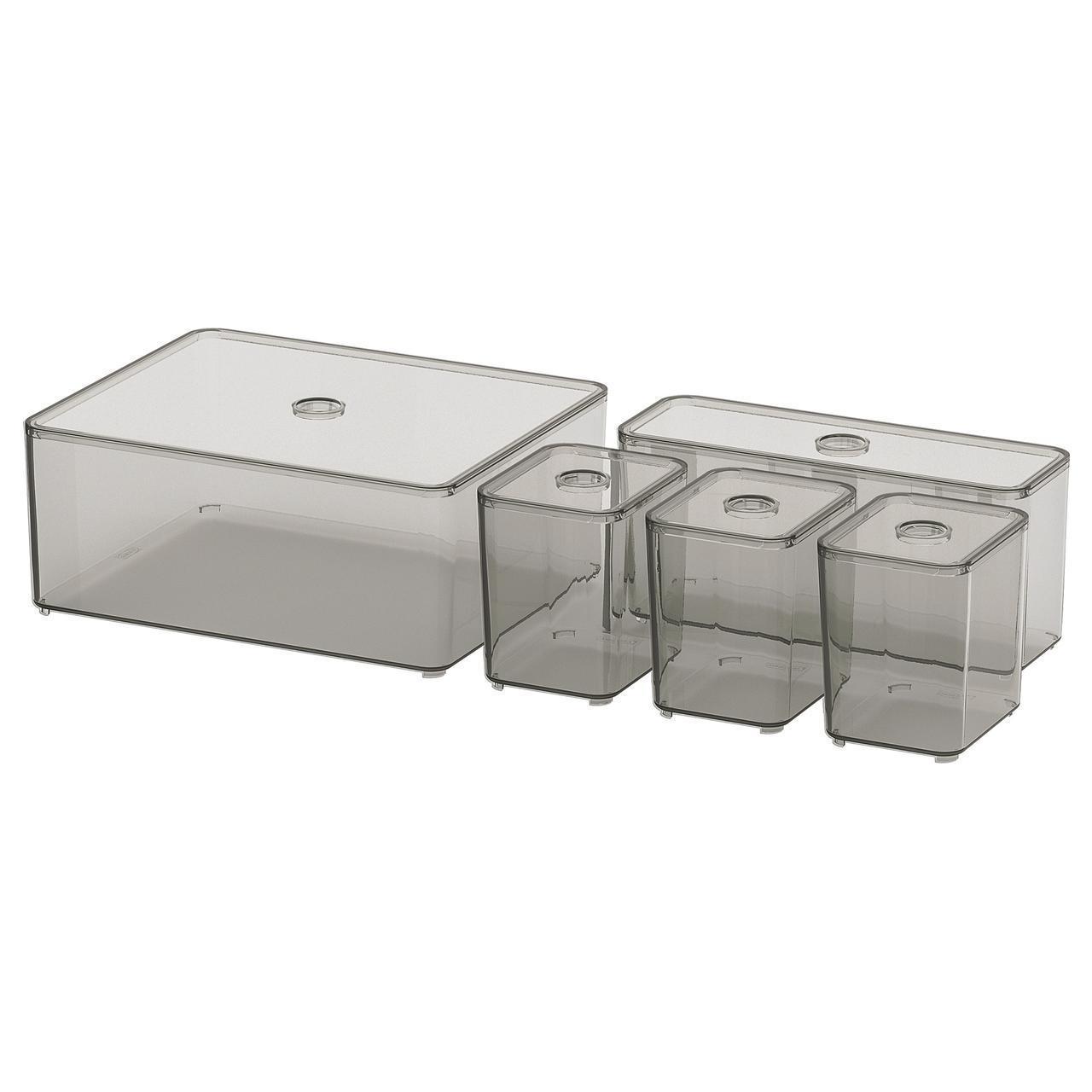 Контейнеры с крышкой IKEA GODMORGON 24x20x10 см 5 шт 504.002.70
