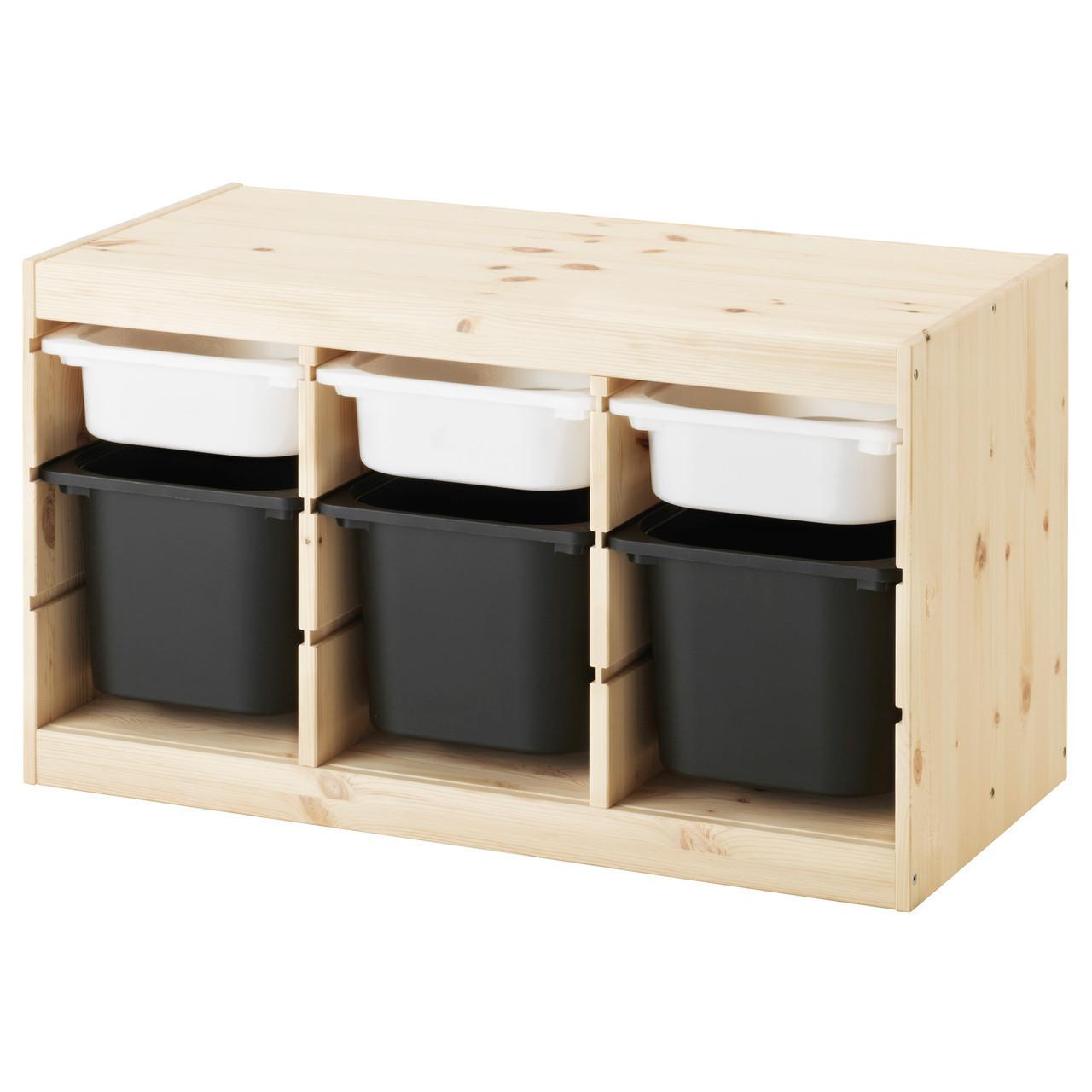 TROFAST Стелаж з контейнерами, сосна білий, чорний 891.026.32