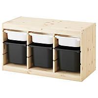 TROFAST Стеллаж с контейнерами, сосна белый, черный 891.026.32