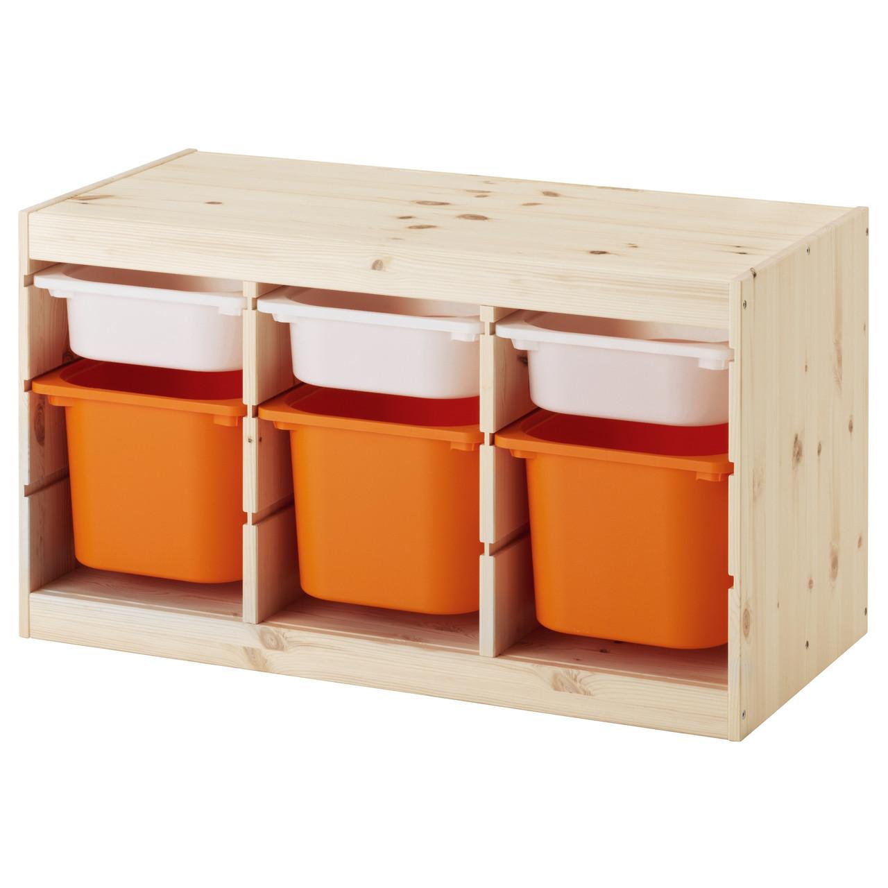 TROFAST Стеллаж с контейнерами, сосна белый, оранжевый 491.026.53