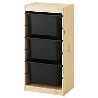 TROFAST Стеллаж с контейнерами, сосна, черный 791.031.37