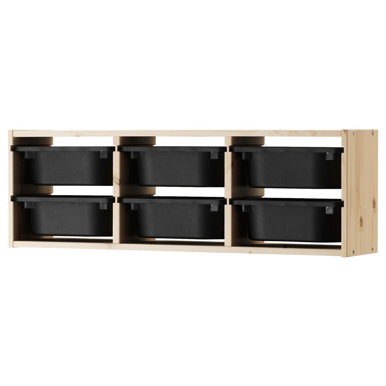 TROFAST Шкаф навесной, сосна, черный 891.023.40