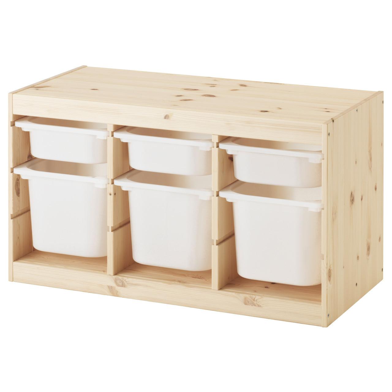 TROFAST Стеллаж с контейнерами, сосна белый, белый 191.026.59