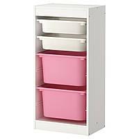 TROFAST Комбинация д/хранения+контейнерами, белый, розовый 299.216.39