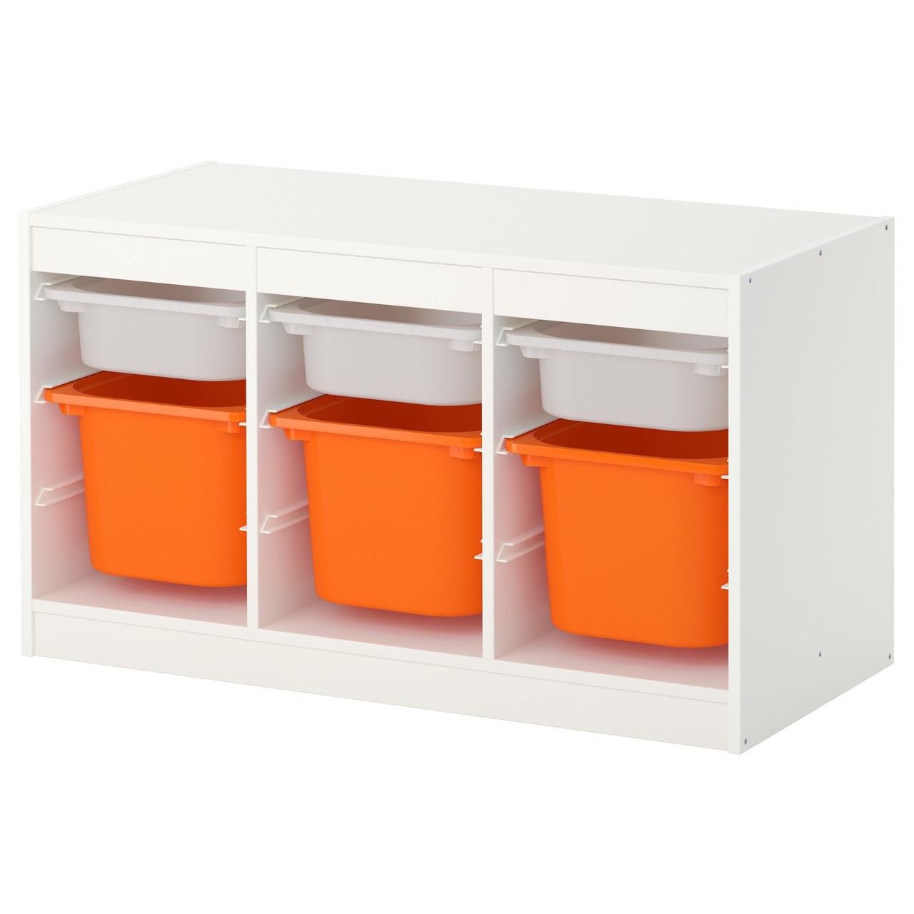 TROFAST Стеллаж с емкостями, белый, оранжевый 391.843.76